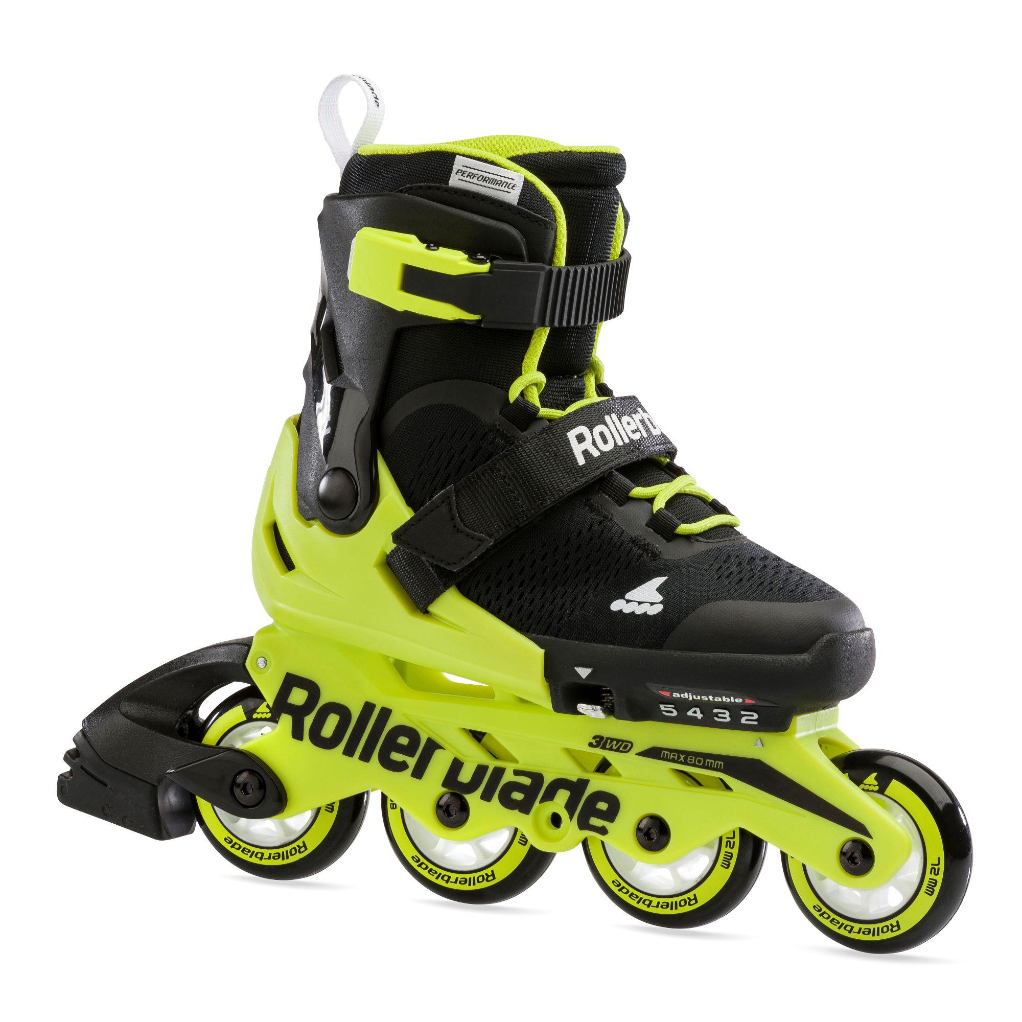 Microblade Black/Neon Yellow - Verstelbare Kinder Skates