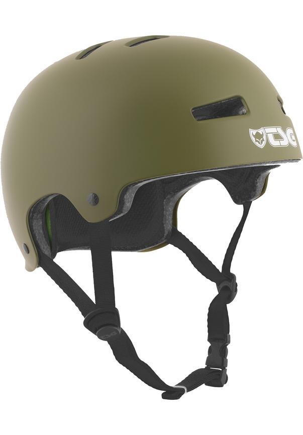 Evolution Solid Color Satin Olive - Skate Helm