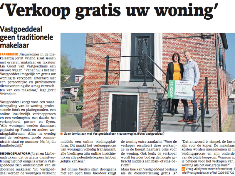 Vastgoeddeal in West Fries weekblad